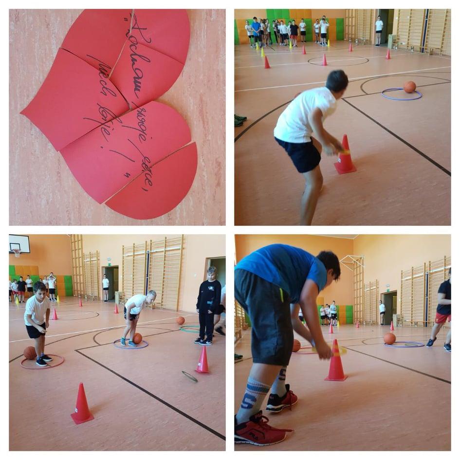 Kolaż przestawia uczniów aktywnych fizycznie podczas turnieju.