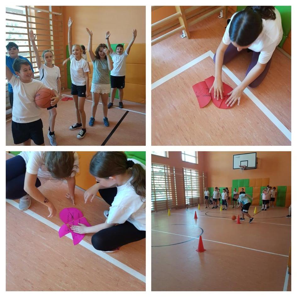Kolaż przestawia uczniów podczas aktywności fizycznej podczas turnieju.
