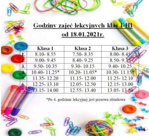 Godziny zajęć lekcyjnych dla klas I-III od 18.01.2021r.