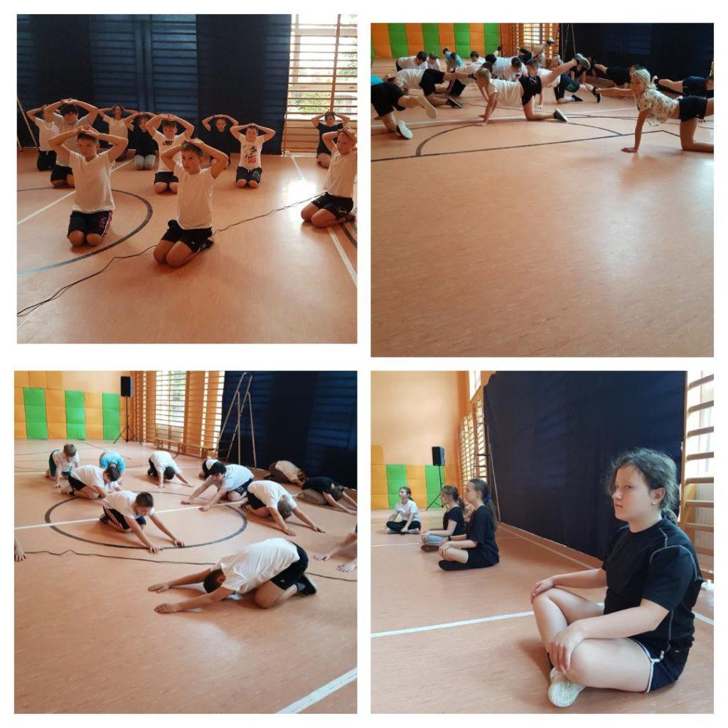 Fotografa przedstawia kolaż zdjęć ukazujących aktywność fizyczną uczniów ćwiczących jogę.
